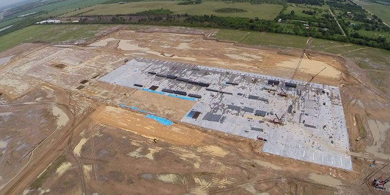 Recent aerial shot of Cypress Creek showing progress on the manufacturing area in the center of the photo.